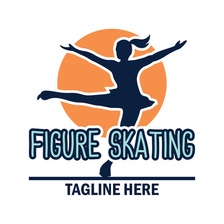 speed skating logo with text space for your slogan  tag line, vector illustration