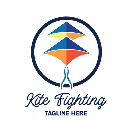 kite fighting logo with text space for your slogan  tag line, vector illustration