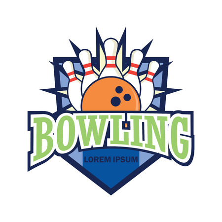 bowling logo with text space for your slogan  tag line, vector illustration Illusztráció