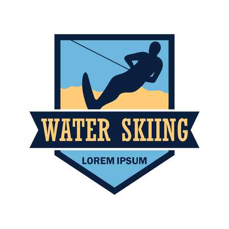 water skiing logo with text space for your slogan  tag line, vector illustration Illusztráció
