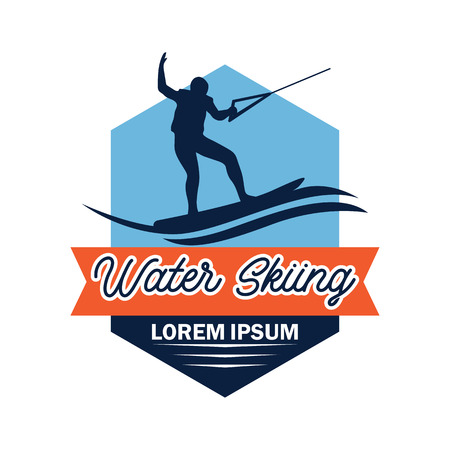 water skiing logo with text space for your slogan  tag line, vector illustration Illustration