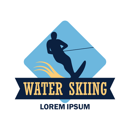 water skiing logo with text space for your slogan / tag line, vector illustration