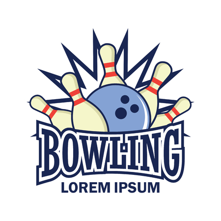 bowling logo with text space for your slogan / tag line, vector illustration 矢量图像