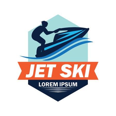 Logotipo de jet ski con espacio de texto para su lema / eslogan, ilustración vectorial