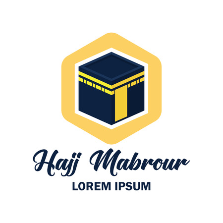 makkah kaaba hajj omra logo with text space for your slogan  tag line, vector illustration 向量圖像
