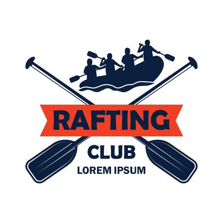 Logotipo de rafting con espacio de texto para su lema / eslogan, ilustración vectorial
