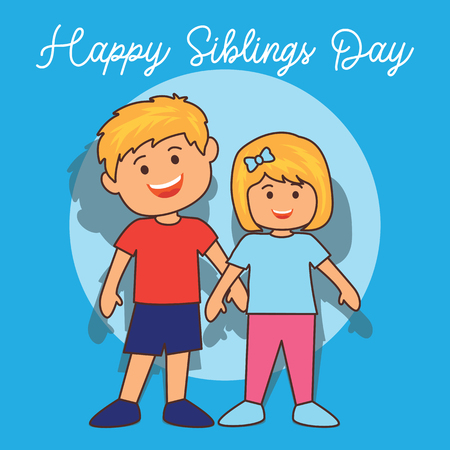 happy siblings day concept. vector illustration 일러스트