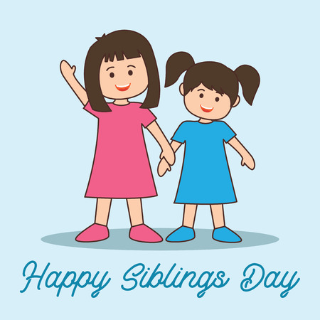 happy siblings day concept. vector illustration Illusztráció
