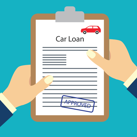 człowiek posiadający formularz umowy pożyczki zatwierdzony dla koncepcji wniosku o pożyczkę. ilustracja wektorowa
