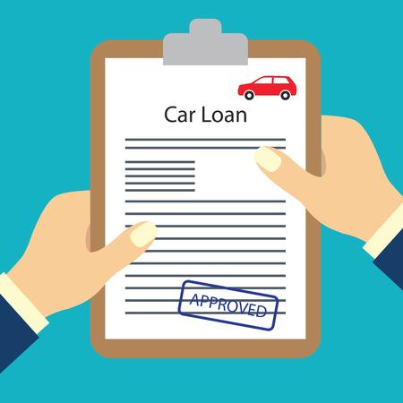 hombre con formulario de acuerdo de préstamo aprobado por concepto de solicitud de préstamo. ilustración vectorial