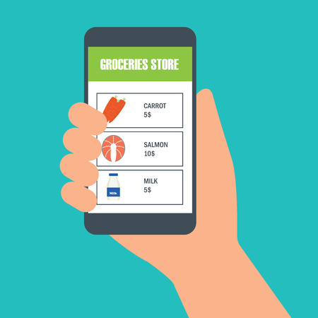 hand holding cellphone for online shopping groceries. vector illustration