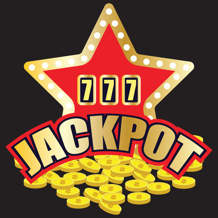 lucky sevens jackpot in golden slot machine. vector illustration