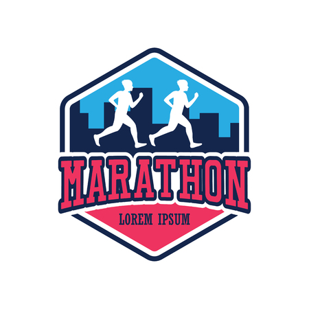 running race people  marathon, sport and activity logo. vector illustration