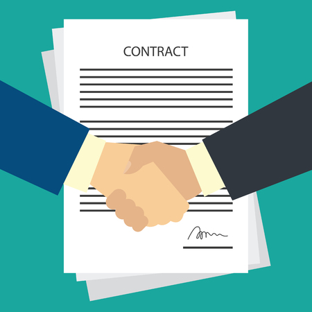 two business man shaking hands to each other with signed contract form. vector illustration Illustration