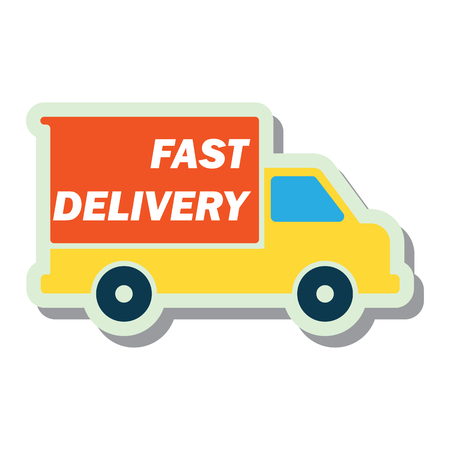 delivery concept (free, fast, food delivery) sticker. vector illustration Illusztráció