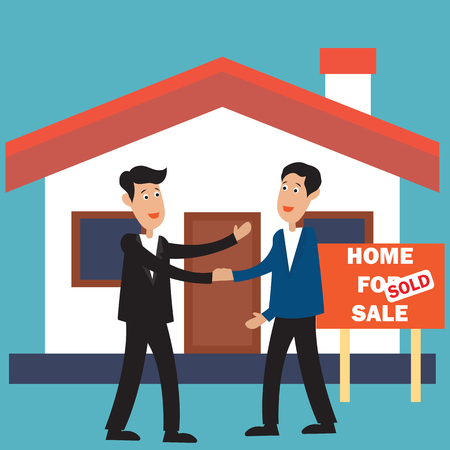 two businessman in front of house for sale plank banner and sold for real estate concept. vector illustration