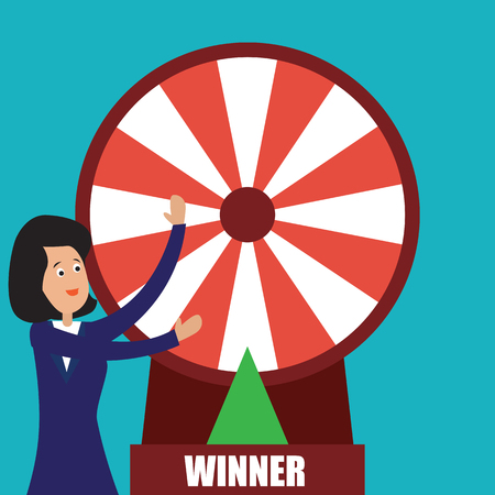 business woman with fortune wheel for gambling concept. vector illustration Illusztráció