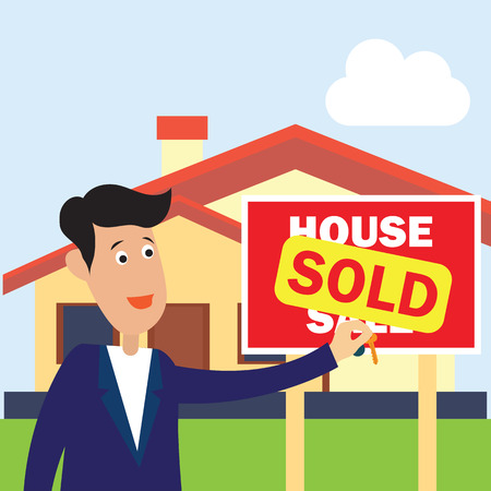 house for sale plank banner and sold for real estate concept. vector illustration
