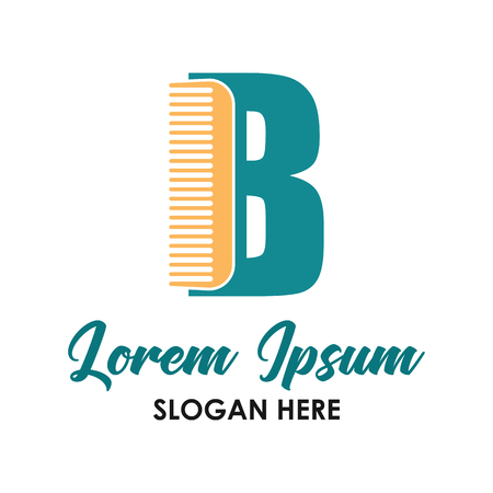 barber shop logo with B alphabet and text space for your slogan  tagline, vector illustration Illusztráció