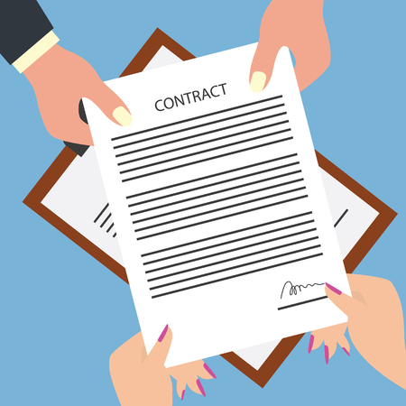 man giving signed contract form to woman. vector illustration Illustration