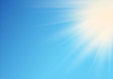 Zon op hemel met illustratie.