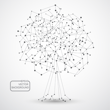 Abstract tree background for design technology and networking science Vectores