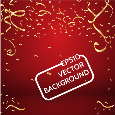 welcoming party: Gold confetti on red background