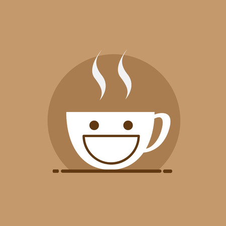 coffeehouse: cup of coffee smile. for menu, restaurant, cafe, bar, coffeehouse. Outline