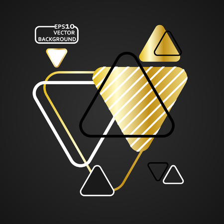 Abstract gold geometric vector background with triangles. Illustration