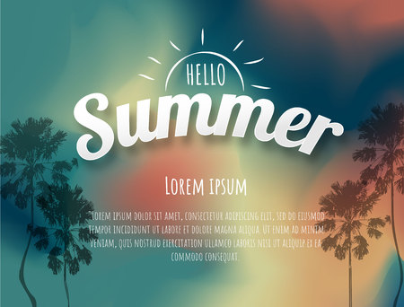 Summer time background. Vector illustration of a glowing Summer time background.