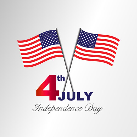 calendario julio: 4th july American independence day design Vector illustration