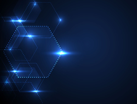 Background Technology. Blue tech background with shining abstract objects. Vector tech circle and technology background