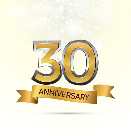 anniversary celebration with Abstract background with many falling gold tiny confetti pieces. Vectores