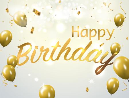Signo de papel de feliz cumpleaños sobre confeti. Vector ilustración de vacaciones. Explosión partido popper con confeti y streamer sobre fondo blanco