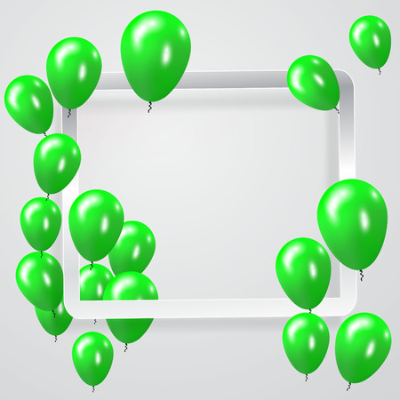 Green Balloons celebration Background. Illustration