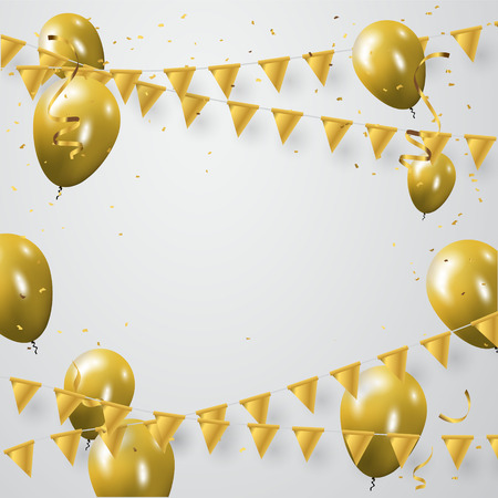 Celebration party banner with golden balloons and serpentine. Illustration