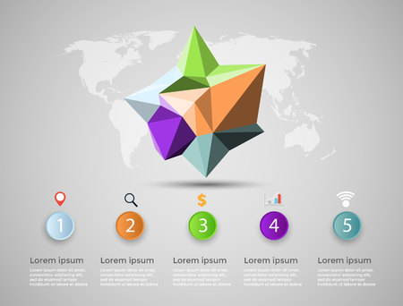 Abstract 3D digital illustration Infographic. Vector illustration can be used for workflow layout, diagram number options web design.