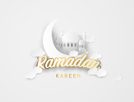 Ramadan kareem background. Paper cut vector illustration with mosque and moon, , place for text greeting card and banner for Ramadan kareem