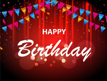 Happy birthday paper sign over confetti. Vector holiday illustration. Exploding party popper with confetti and streamer on white background