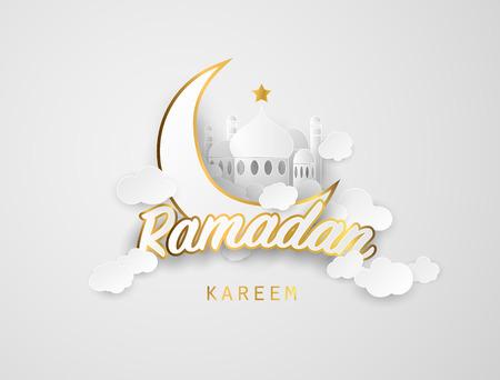 Ramadán kareem antecedentes. Papel cortado ilustración vectorial con la mezquita y la luna,, lugar para texto tarjeta de felicitación y banner para el Ramadán kareem