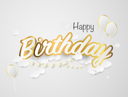 champagne celebration: Happy birthday paper sign over confetti. Vector holiday illustration. Exploding party popper with confetti and streamer on white background