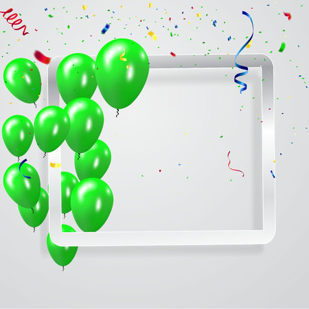 flotation: Green Balloons celebration Background. Illustration