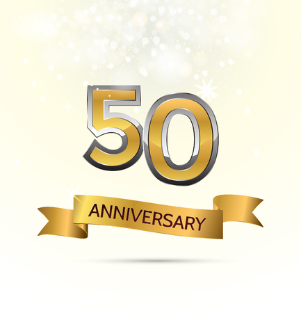 anniversary celebration with Abstract background with many falling gold tiny confetti pieces. Illustration