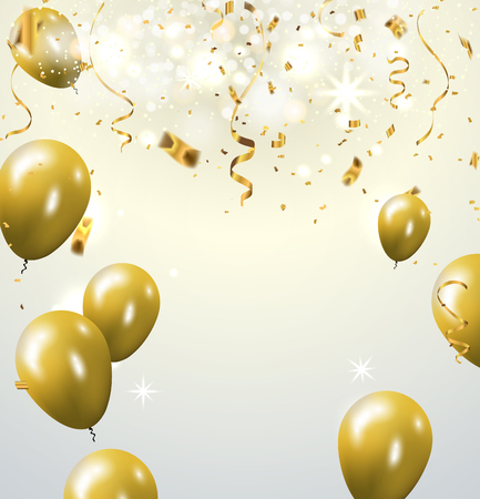 rubbery: Celebration party banner with golden balloons and serpentine. Illustration