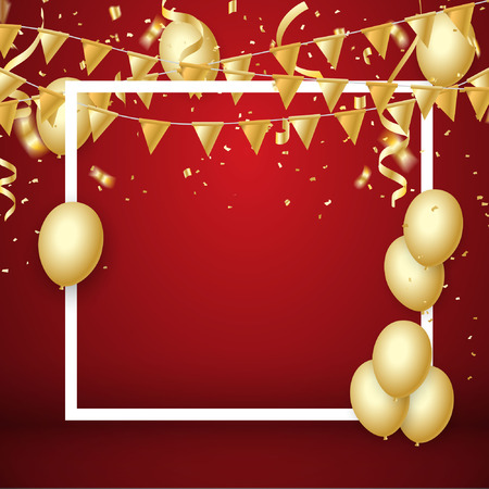 Gold balloons, confetti and streamers on red background. Vector illustration.