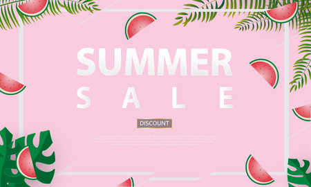 Summer sale banner vector illustration
