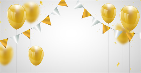 Celebration party banner with Gold balloons background. Sale Vector illustration.