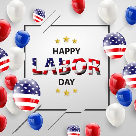 Diseño de tarjeta del día del trabajo globos de bandera americana con fondo de confeti. Venta ilustración vectorial. Ilustración de vector