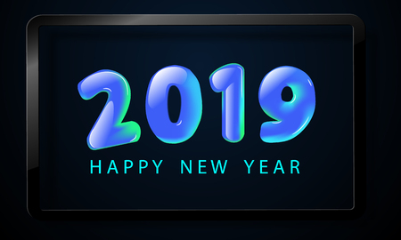 Happy New Year 2019 greeting card with blue numbers and vector celebration white background