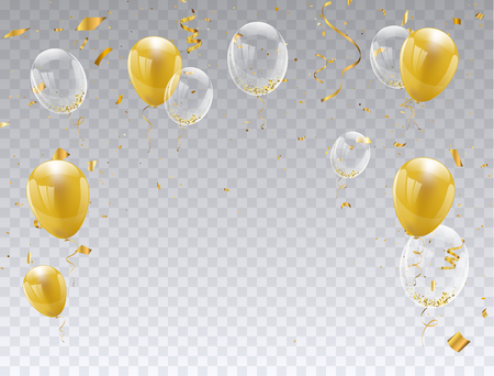 gold balloons isolated. Celebration party banner.